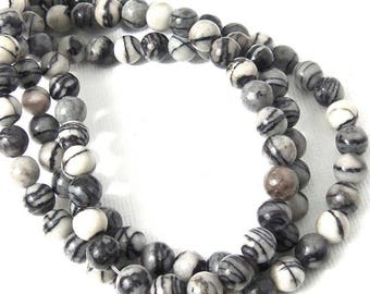 Black Water Jasper Bead, 6mm, Black Line Jasper, Black and White, Round, Smooth, Natural Gemstone Beads, Small, 16 Inch Strand - ID 853