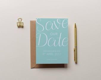 Erin - Minimal Mint Green Save the Date | Printed Save the Date | Minimal Invitation | Typographic Wedding | Modern Wedding