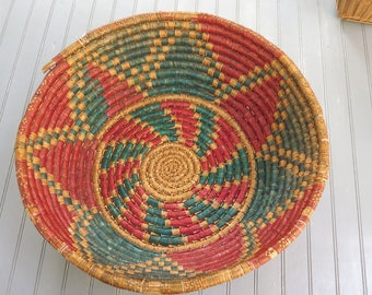 "Large 16"" Woven Coiled Native American Style Basket Bowl Dark Teal and Red woven design"