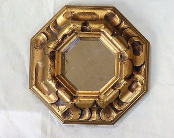 Chunky Gold Gilt Accent Mirror Octagon Frame