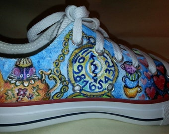 Alice in Wonderland Hand Painted shoes sneakers Mad Hatter teapot party drink me eat me cheshire cat queen of hearts