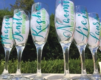 9 Personalized bridesmaid champagne glasses, personalized champagne flutes, wedding champagne glasses, bridesmaid proposal