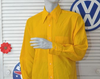 Vintage Men's Shirt 60's Long Sleeve Dress Shirt Bright Amber Taxi Cab Yellow Gold Button Front 1 Pocket costume Polyester Venture Med-Large