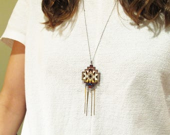 Morocco Stepped Diamond Necklace with Four Vertical Brass Bars, Essaouira Colors 1, Wood, Brass