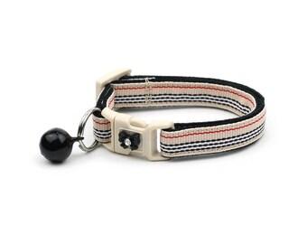 Plaid Cat Collar - Designer Khaki Stripes - Small Cat / Kitten Size or Large Size