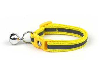 Reflective Cat Collar -Safety Yellow with Refective Strap -Small Cat / Kitten Size or Large Size Collar