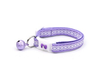 Lace Cat Collar - Pretty White Lace on Purple - Small Cat / Kitten Size or Large Size
