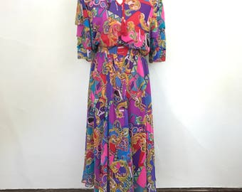 Vintage 1980s Designer Diane Freis Georgette Dress with Matching Scarf // Two Piece Set // Size Medium/Large // Red Gold Jewel Tone Print