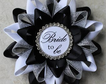 Bridal Party Pins, Black and White Bridal Shower Decorations, Bride to Be Pin, New Bride Gift, Bridal Shower Pins, Black, White, Silver