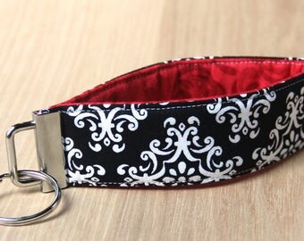 Key Fob Wristlet - Black and White Damask with Red - Ready to Ship