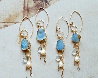 Mint Druzy Earrings, Mint Peach Dangle, Real Druzy Earrings, Gold Dipped Druzy, Spiral Hoop Earrings, Paisley Hoops:  Ready to Ship