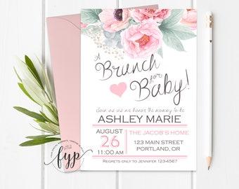 Floral Baby Shower Invitation, Brunch For Baby Invitation, Girls Baby Shower Invitation, Brunch Baby Shower