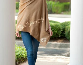 Taupe Ladies Poncho Cape with Embroidered Monogram Personalized
