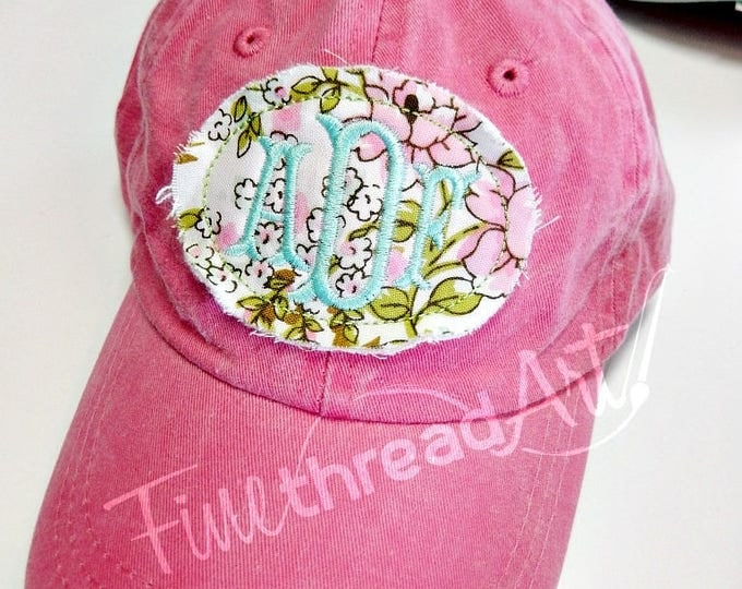 Featured listing image: KIDS Floral Applique Monogram Baseball Cap Hat LEATHER strap Flower Floral Coral Blue Pink Summer Beach Girls Trip Vacation Pigment Dyed