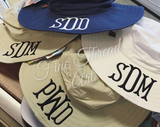 Featured listing image: LADIES Monogram Sun Hat Beach Hat Floppy Derby Hat Bridesmaid Bride Bachelorette Summer