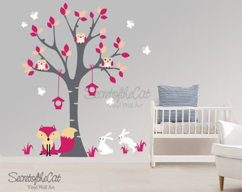 Wall Decal Nursery Wall Decals Tree Decal With Bunnies and Butterflies Tree with bunnies Wall decal tree for girl Tree wall decal Decal pink