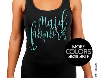 Nautical Maid of Honor Stretchy Tank. Nautical Beach Wedding. Black Workout Stretchy Tank Top. White. Gold. Rose Gold. Aqua Ink Options