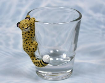 Hand Sculpted Cheetah 1.5 oz Shotglass