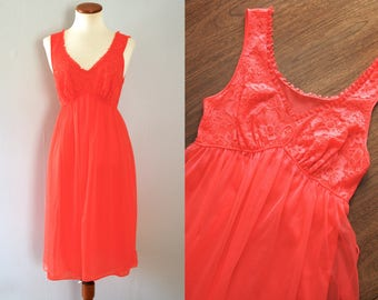 50s coral slip - vintage orange red Vanity Fair floral lace piping waist tie mid century pinup retro nylon lingerie sheer full nightgown