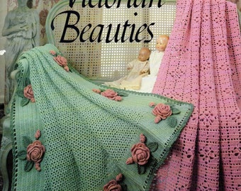 VICTORIAN BEAUTIES  8 Crochet Afghan Patterns Terry Kimbrough Leisure Arts #1292