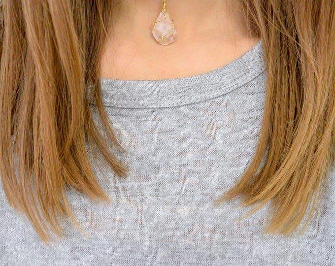 Rose Quartz Crystal Freeform Faceted Necklace, Quartz Crystal Necklace, Rose Quartz Jewelry, Rose Quartz Rock Necklace