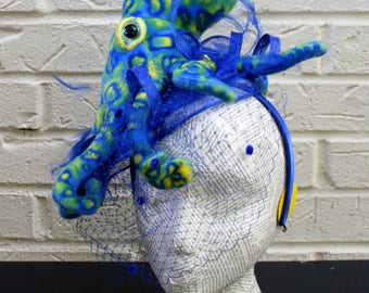 Octopus Ladies Hat - Blue and Green Cuddle Fish in Chartreuse and Aqua, Steampunk, Costume, Cos-play, Halloween
