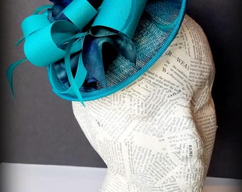 Deep Turquoise Satin, Tilt Fashion Hat in Teal: Holiday, Church, Derby, or Mother's Day