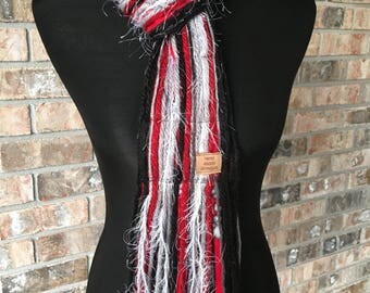 Alabama Scarf Crimson Tide Inspired Skinny Scrappy - Crimson, Gray, Black & White - Handmade
