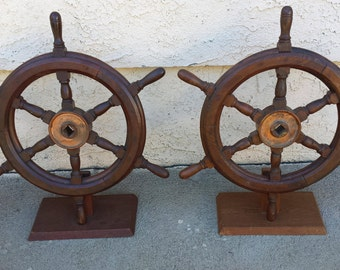 Wood  Ship Steering Wheels With Base Nautical 2 Each