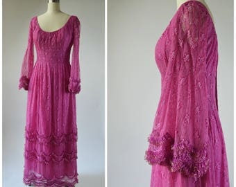 1970s PINK Lace Dress with Ruffles by Richilene Maxi Dress Ruffled Bell Sleeve Low Scoop Neckline 3 Layer Skirt Gold Metallic Trim