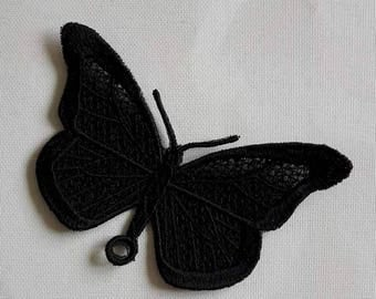 UK Black gothic lace butterfly applique, necklace, choker centerpiece, brooch, pin hand made