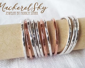 Stacking Rings Recycled Sterling Silver Copper Thin Dainty Ring Hammered Bands Stackable Minimalist Eco Friendly Jewelry