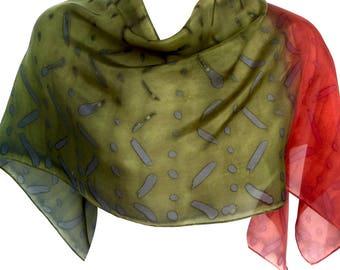 Silk scarf silk Green silk scarf Handmade scarf Hand made scarves Green scarf Gift for women Fall scarf Unique scarf Indian scarf