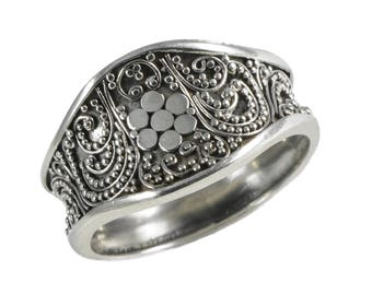 Cigar Band Flower Ring Sterling Silver Balinese Bali Jewelry