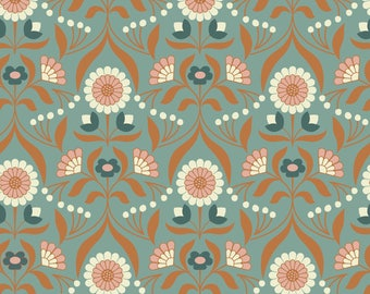 Drawing Room Blooms on Blue  A242.2 - CHIEVELEY - Lewis and Irene Fabric - By the Yard