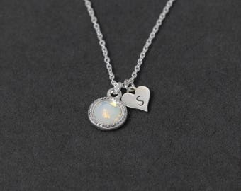 Birthstone Mothers Necklace Personalized Mothers Necklace Birthstone Initial Jewelry, Heart Initial Necklace, October Birthday Gift