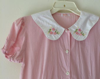Cute Vintage Babydoll Pink Tea Party Dress with Ruched Pockets