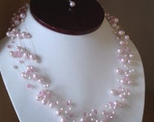 RESERVED for Linda - Set of Clear Illusion floating blush pink Necklace and earrings
