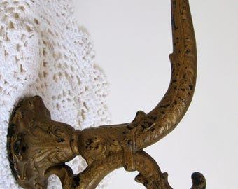 "Antique Victorian Hat and Coat Hanger Cast Iron 9"" x 4"" Ornate Design ~ Gold Paint"