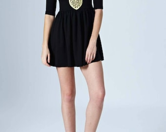 Black Dress With Cream & Tan Crochet Fabric Accented Pattern With 3/4 Sleeves And Cut Out Shoulders