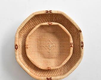 round octagon woven straw nesting baskets  / set of 2