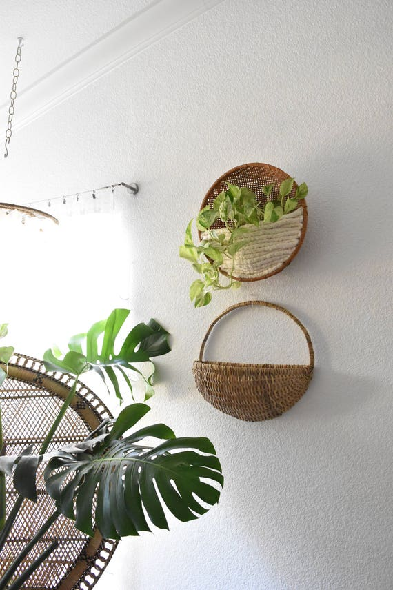vintage large wicker woven wall hanging basket with pocket / farmhouse planter