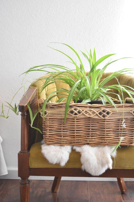 boho decorative woven wicker twig storage basket with handles