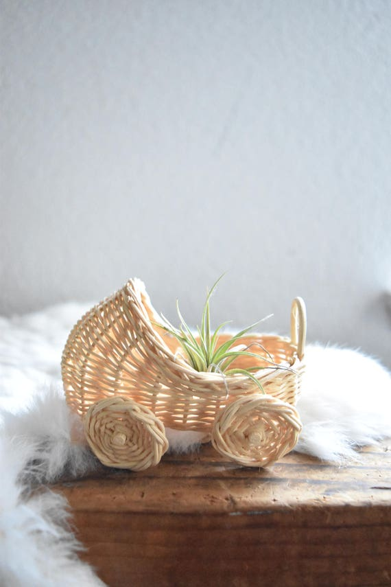miniature woven wicker baby carriage toy / white