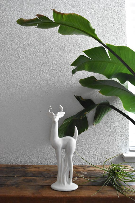 tall white ceramic christmas deer fawn figurine // woodland figure