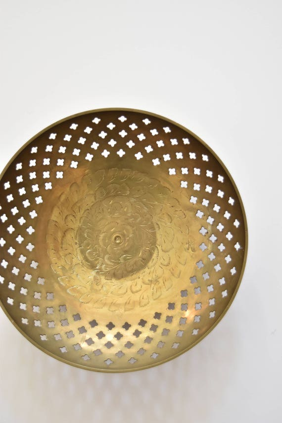 cut out etched heavy solid brass bowl / hollywood regency serving bowl / pedestal