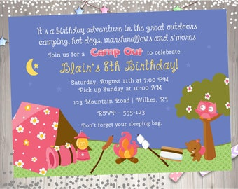 Girl Camping Birthday Invitation invite Camp Out  Camping Sleepover Birthday Party Prinatable