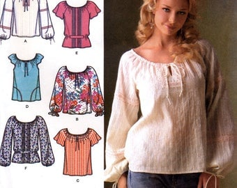 Simplicity 4177 Sewing Pattern for Misses' Pullover Peasant Top - Uncut - Size 8-16