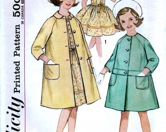 Simplicity 4875 Vintage 60s Sewing Pattern for Girls' Dress and Coat - Uncut - Size 10