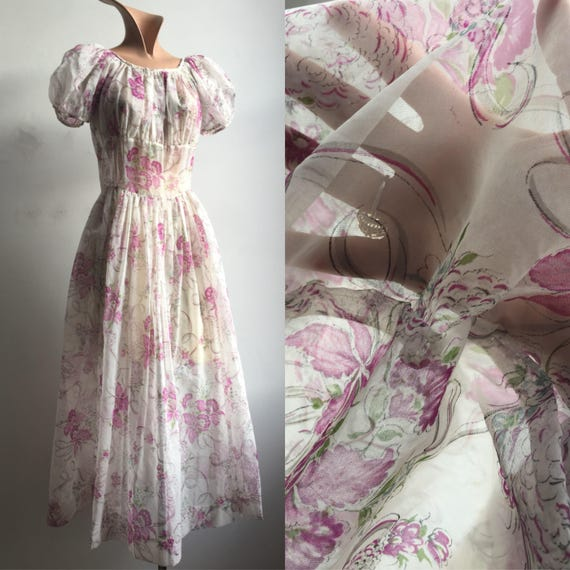 1950s Sheer Floral Orchid Print Dress